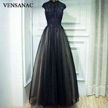 VENSANAC 2017 New A Line Lace Appliques High Neck Long Evening Dresses Sleeveless Elegant Beadings Embroidery Party Prom Gowns