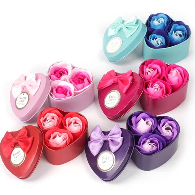 New Ủng Hộ Đảng 3 pcs Rose Xà Phòng Hoa Hộp Quà Tặng Valentine của Món Quà Ngày Quà Tặng Đám Cưới Cho Khách Quà Tặng Cho bạn gái Trẻ Em Sinh Nhật