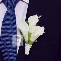 Wedding Boutonniere White Calla Floral Groom Groomsman Pin Brooch Artificial Corsage Suit Decor Flowers Accessories