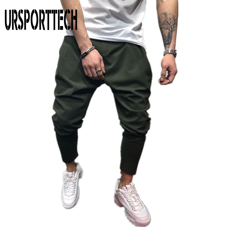 URSPORTTECH Harem Pants Men Hip Hop <font><b>Jumpsuit</b></font> Joggers Men Spring Summer Casual Ankle Length Trousers Streetwear Pantalones <font><b>Hombre</b></font> image