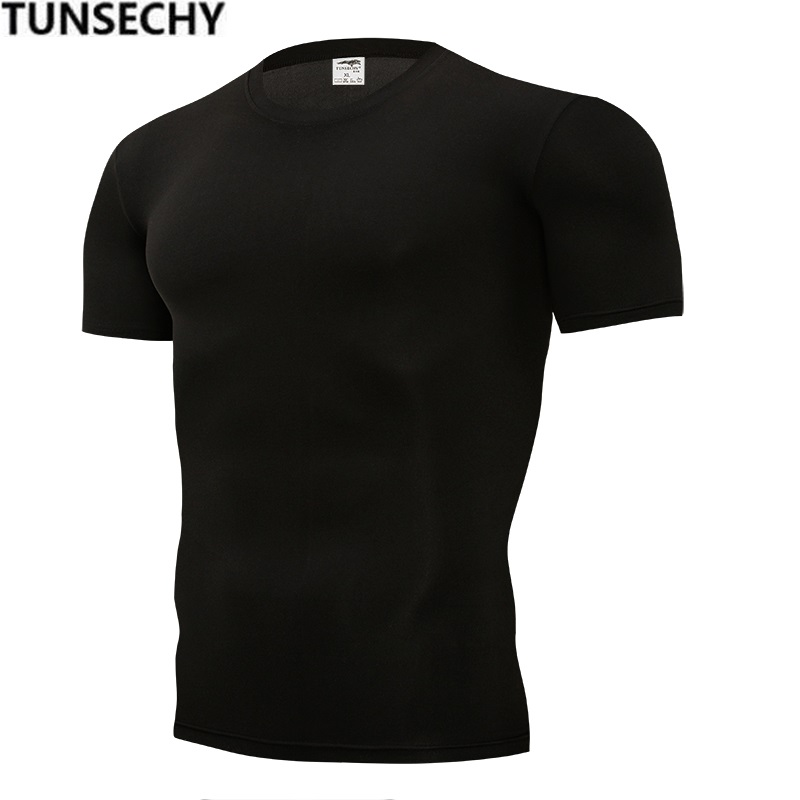 TUNSECHY Summer Fashion Brand Tight Pure Color T-shirts 13 Kinds Color 100% Polyester Spandex Mens Black White T-shirts