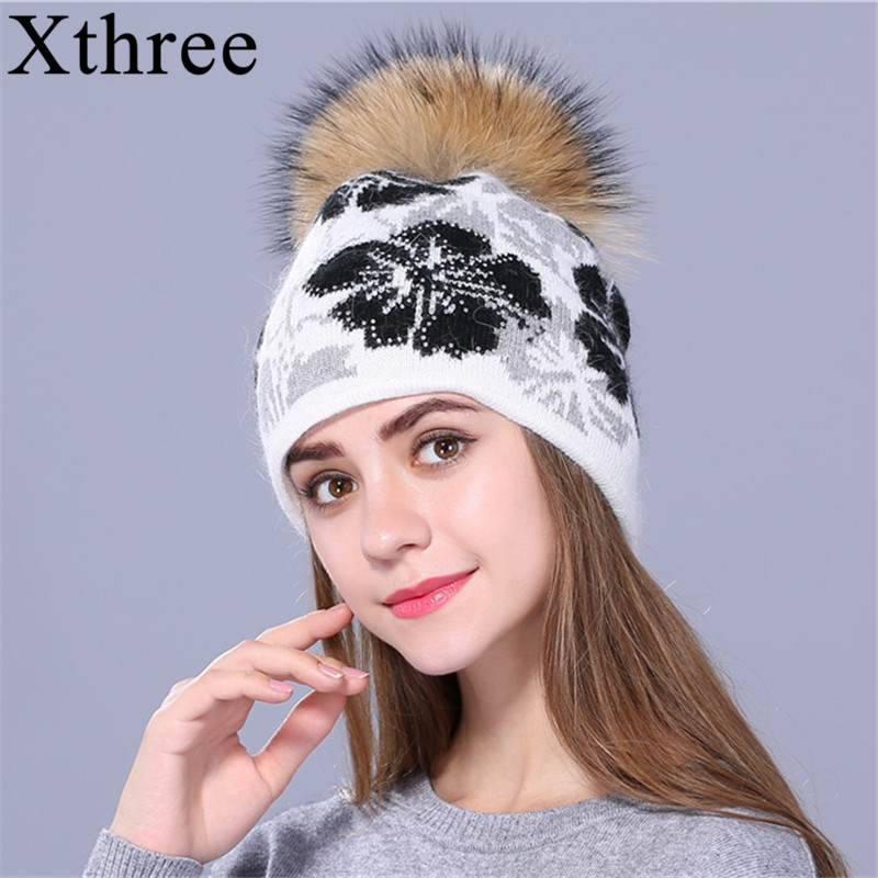 [Xthree]real Raccoon Fur Pom Poms Knitted Beanie Winter Hat For Women And Girl Hat Thick Female Rabbit Fur Wool Cap