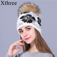 Xthree Real Raccoon Fur Pom Poms Knitted Beanie Winter Hat For Women And Girl Hat
