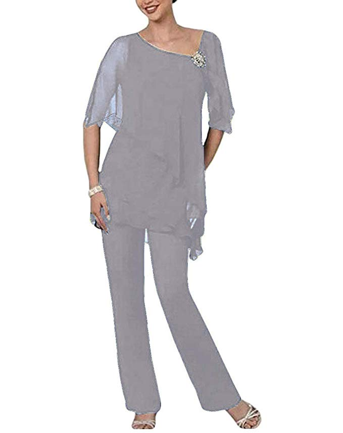 Elegant Chiffon Lace 3 Pieces Mother Of The Bride Pant Suits With Jacket Mother Of The Bride Dresses Plus Size