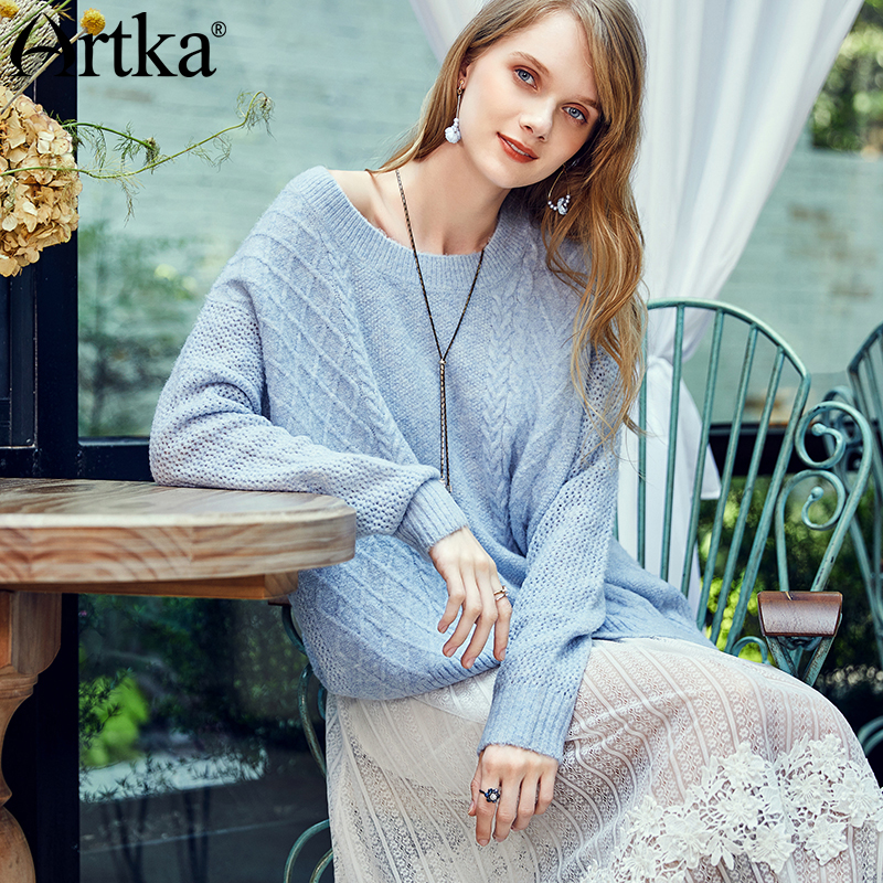 ARTKA 2018 Autumn and Winter New Women Solid Light Blue Hollow Pullovers Loose Long Sleeve O