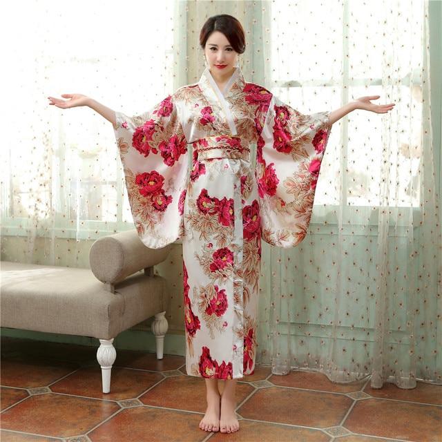 771c1a5c0e0122 Top Sale Classic Traditional Japanese Women's Satin Kimono Yukata Evening Dress  Mujeres Quimono Flower One Size