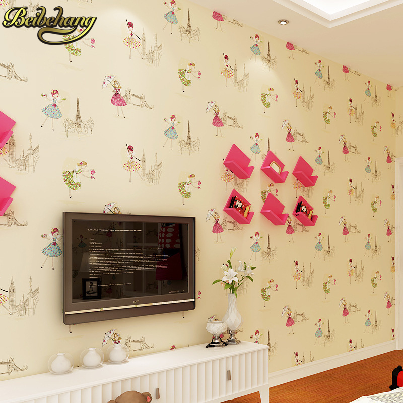 beibehang papel de parede 3D wallpaper girl wall paper contact paper children's lovely cartton kid's wallpaper roll for bedroom massin verbes de contact 2ed
