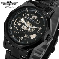 WINNER Military Steampunk Men Auto Mechanical Watch Skeleton Dial Stainless Steel Strap Classic Black Fashion Relogio