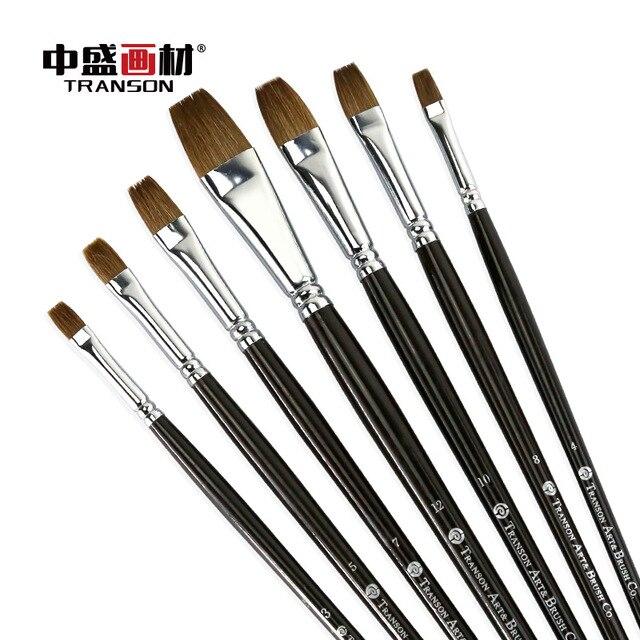 6PCS Transon102 black wooden handle filbert brush,  weasel hair artist brush set, oil painting brush