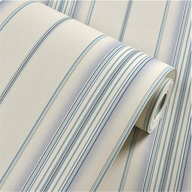 beibehang  Mediterranean blue modern minimalist bedroom wallpaper non-woven wallpaper background retro brown vertical stripes beibehang shop for living room bedroom mediterranean wallpaper stripes wallpaper minimalist vertical stripes flocked wallpaper
