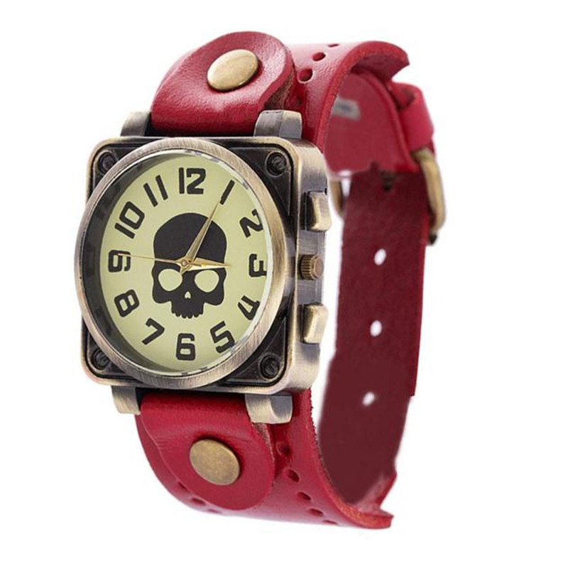 2017 Vintage Retro Casual Watch Lady Women Wristwatch New Fashion Leather Quartz Watch Punk Skull Style Relogio feminino #160717 candino sport c4506 3