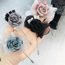Korea New Handmade Modern Yarn Flower Bowknot Brooches Pins Badges Fashion Jewelry For Woman Suits Accessories-YHGWBH011F