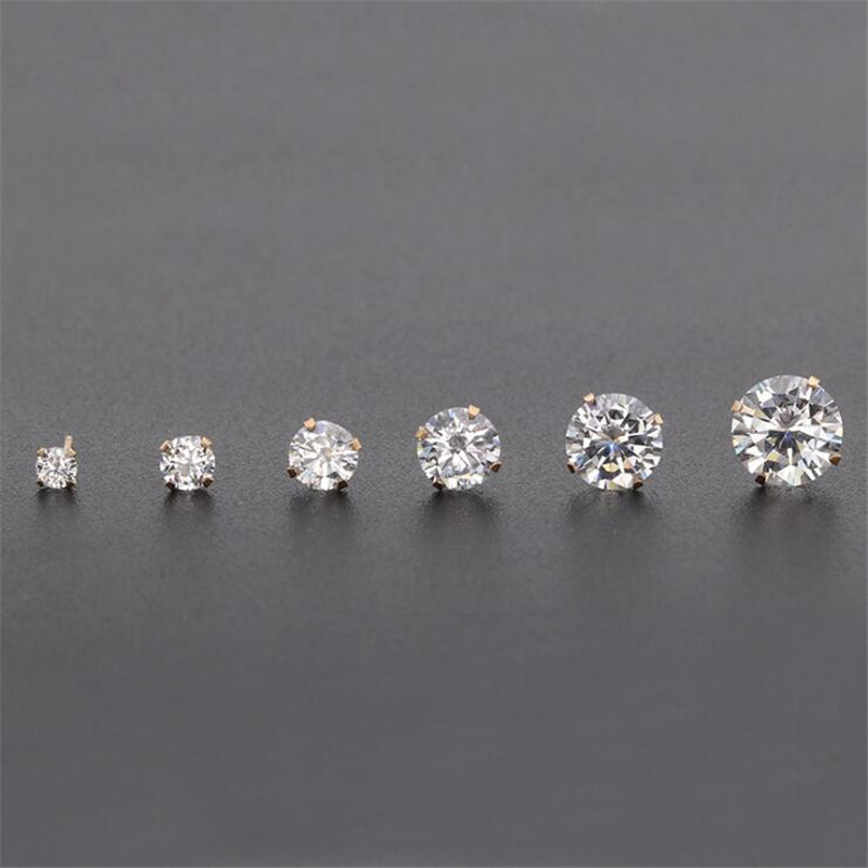 PE10 Titanium <font><b>Earrings</b></font> With AAA Round Clean Zircon 316l Stainless Steel <font><b>Earring</b></font> IP Plating No Fade Allergy Free Quality Jewelry image