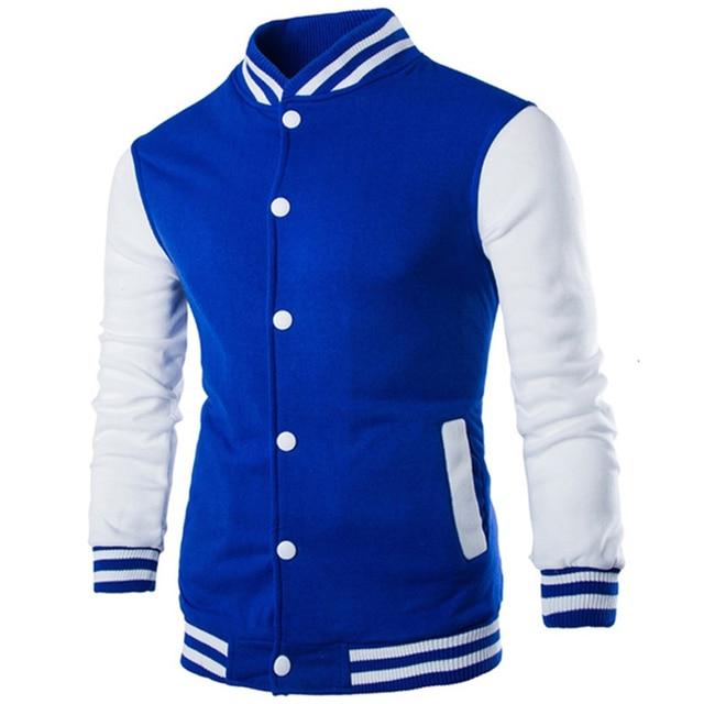 New Men/Boy Baseball Jacket Men 2016 Fashion Patchwork Design Mens Slim Fit College Varsity Jacket Brand Vest Homme Jaqueta Xxl