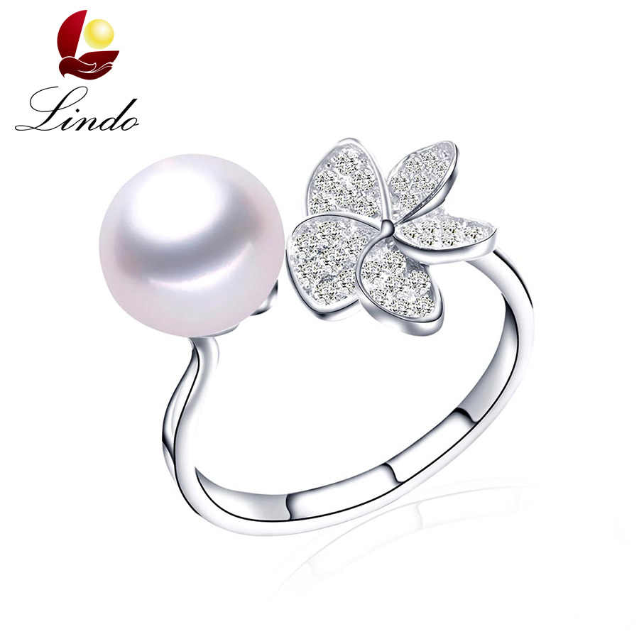 Clearance Sale !! Silver 925 Adjustable Wedding Rings For Women Fashion Zircon 100% Natural Freshwater Pearl Jewelry With Box