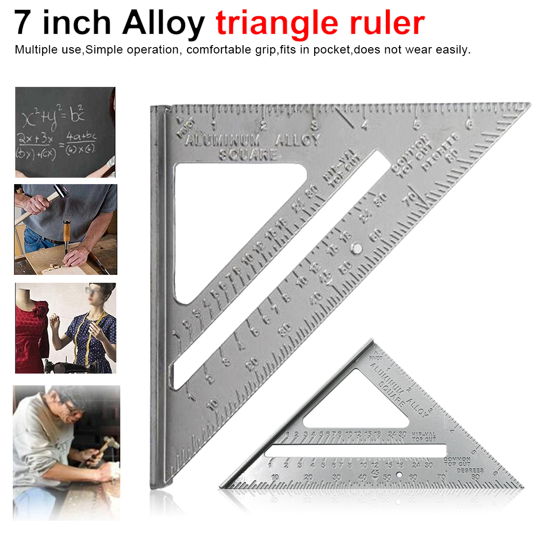7Inch Aluminum Alloy Measuring Ruler Speed Square Roofing Triangle Angle Protractor Trammel Measuring Tool Aluminum Alloy Metric