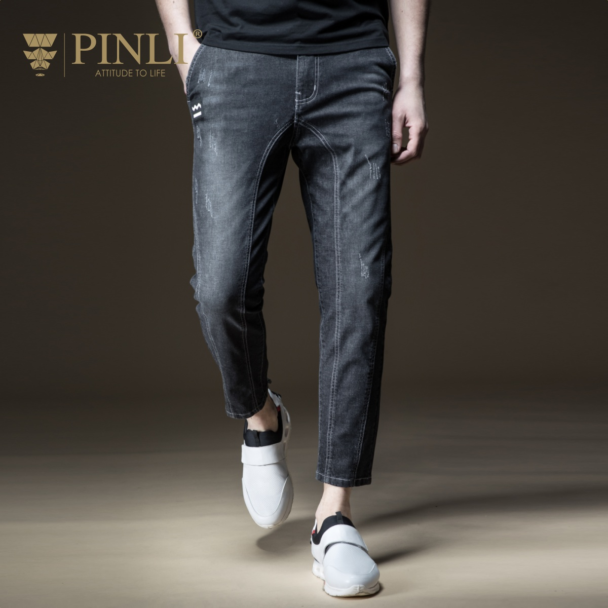 PINLI 2018 summer new mens new mens clothing pocket, cowboy small pants man Boomer B182316395