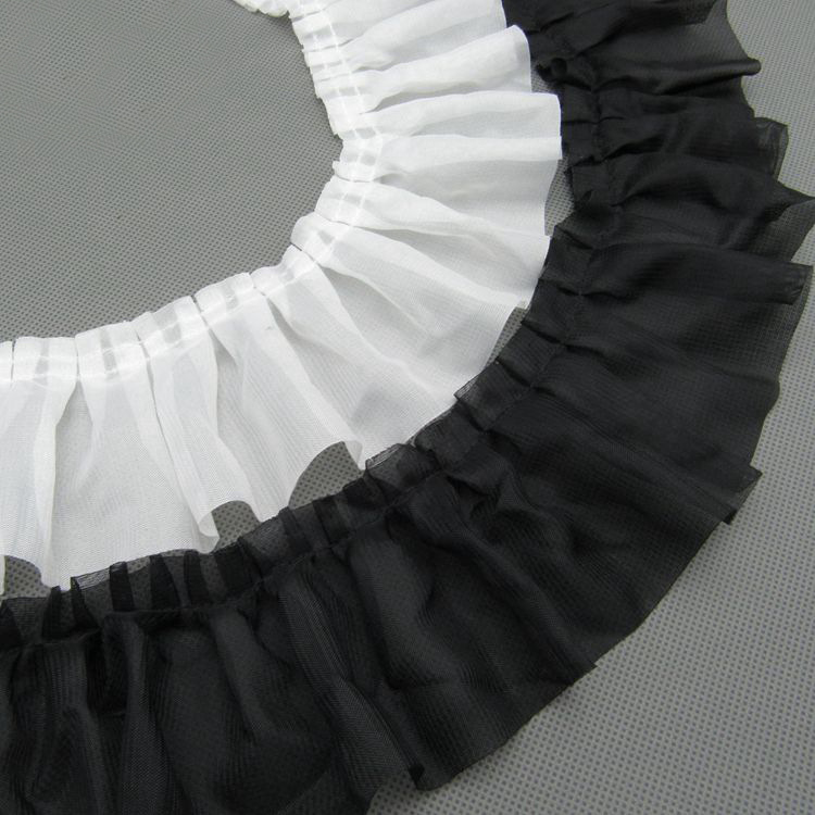 20yards/lot 8cm Black/White Chiffon Ruffled Pleated Lace Trim Craft DIY Decoration Ruffle Lace Ribbons Dress Accessary