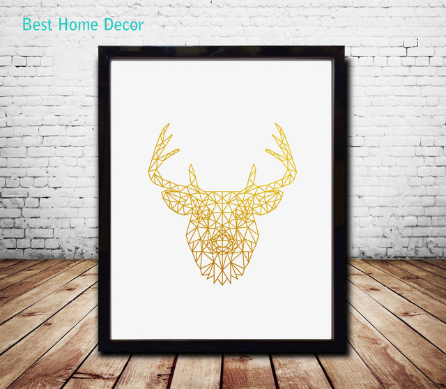 Geometric Wall Art aliexpress : buy gold geometric deer head art poster gold