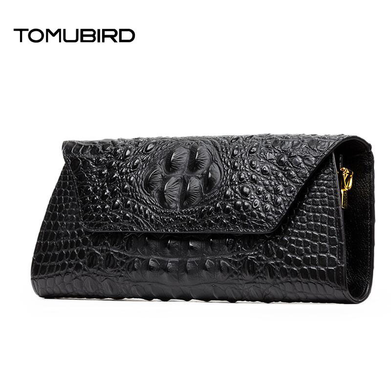 TOMUBIRD 2017 new superior leather alligator grain designer bag famous brand evening bag women genuine leather clutch bag