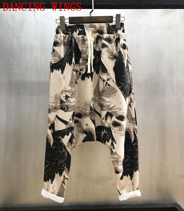 Spring Hip-hop Women's Big Crotch Pants Harem Pants Elastic Waist Graffiti Printed Casual Trousers Large Size Cropped Pants