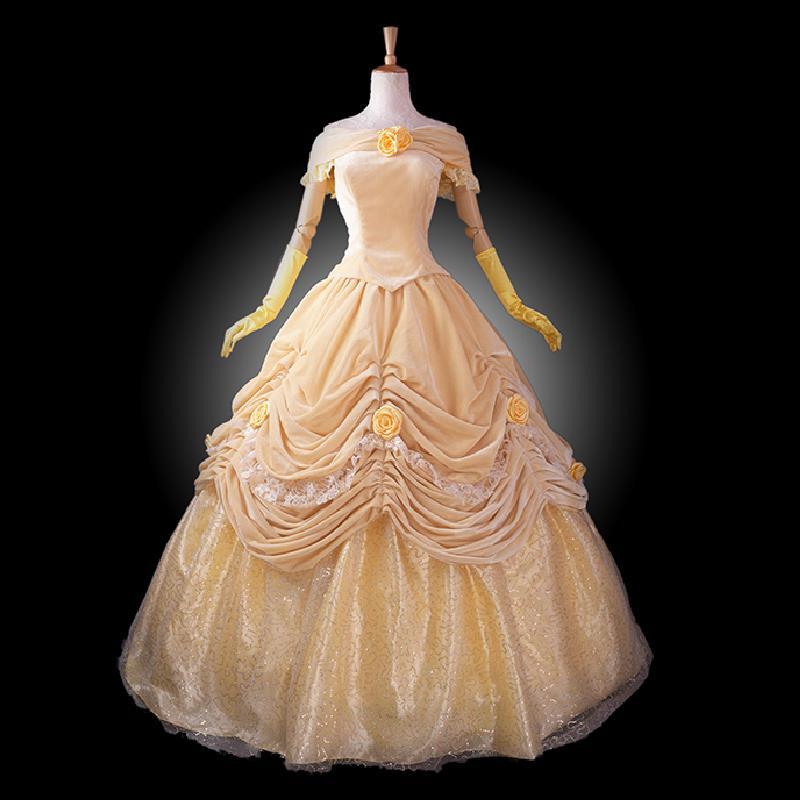 efbb1dd71d Traje adulto princesa Belle belleza y la Bestia traje Cosplay trajes de  Halloween para las mujeres de terciopelo vestido de fiesta de encargo
