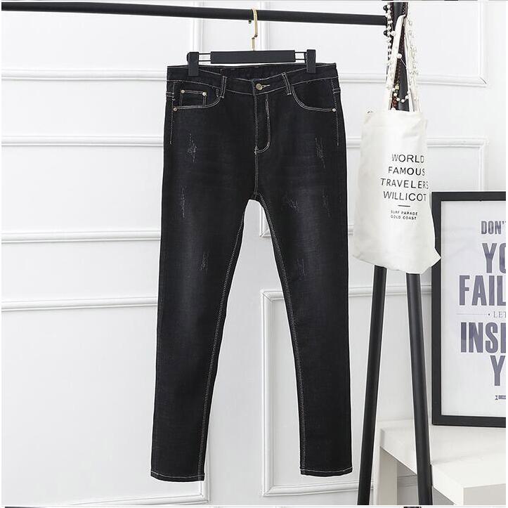 Pantalones 2018 6xl Primavera Elástico Ripped Mujeres Mujer Blanqueado Jeans Stretch Casual Denim Más Negro azul Tamaño Xl rwrEP