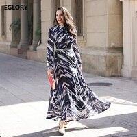 XXXXL Plus Size Women Long Dress 2017 Spring Summer Ladies Gradient Dye Print Color Long Sleeve