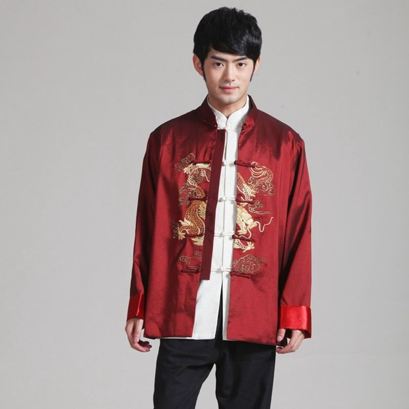 Traditional Chinese Clothing Men Quinquagenarian Costume Man Autumn Winter Male Jacket Embroidery Nation Cheongsam Top