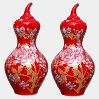 Бесплатная доставка Цзиндэчжэнь китайский красная бутылка тыква открытие церемонии жизни/мебель/украшения сада современной технологии
