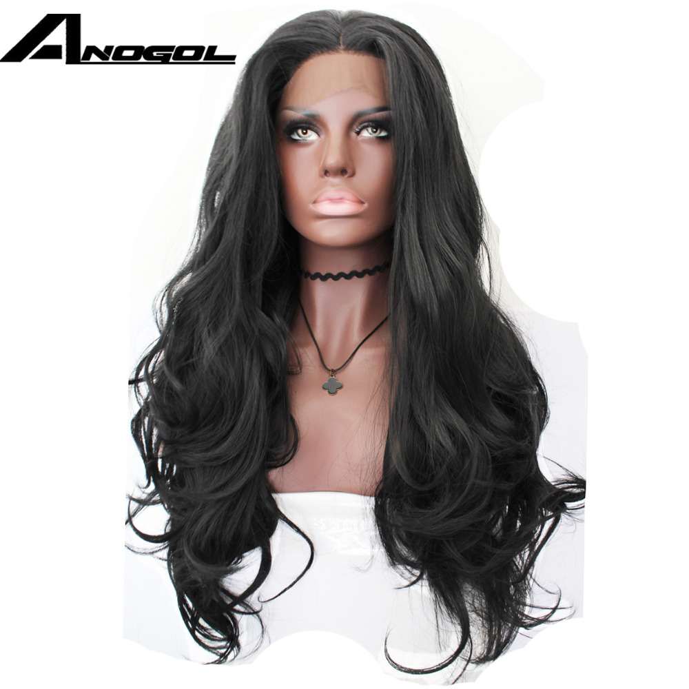 Anogol Black Long Body Wave Heat Resistant Fiber Hair Glueless Natural Hairline Synthetic Front Lace Wig