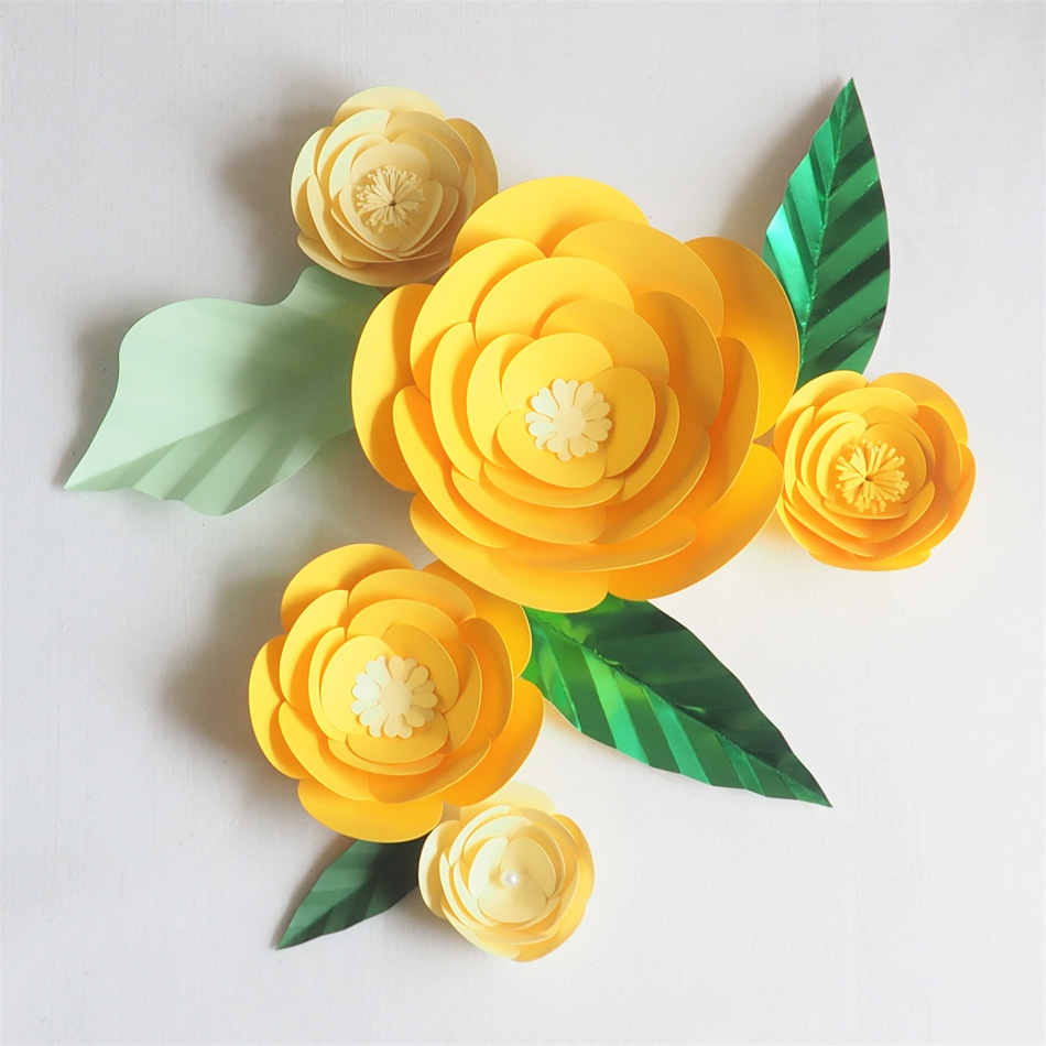 DIY Giant Paper Artificial Flowers Wedding Fleurs Artificielles Backdrop Artificial Rose 5PCS+4 Leave Party Decor Nursery Yellow