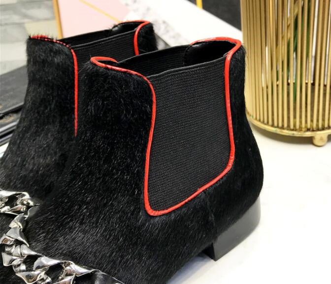 Noir Slip Inside Court 2018 Femmes Nouveau Inside suede Pointu Cheville Crin Leather Européenne on Bout hiver Boot Automne Talon Bottes Chaînes Martin Chunky qSXqv