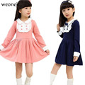 Weoneit Vetement Enfant Girls' Clothes Girls Autumn Baby School Dress Girls Wear Long Sleeve Elegant Dresses with Bow