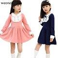 Weoneit Vetement Enfant Roupas Meninas Do Bebê Do Outono Das Meninas Da Escola Vestido de Meninas Usam Vestidos de Manga Longa Elegante com Arco