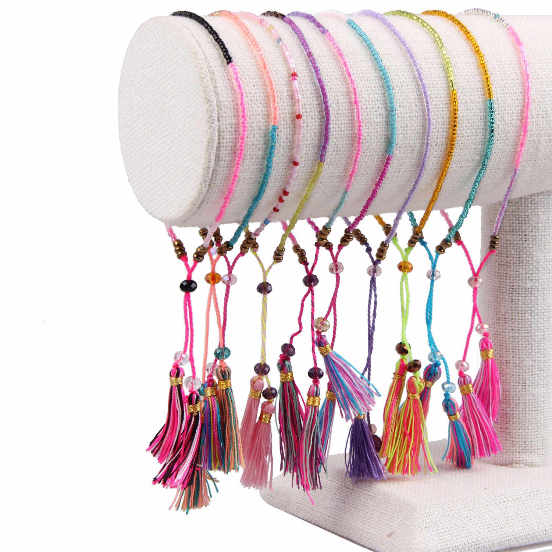KELITCH みゆきシードビーズブレスレットタッセル友情ブレスレット調整可能なラップブレスレットチャームクリスタルブレスレット腕輪