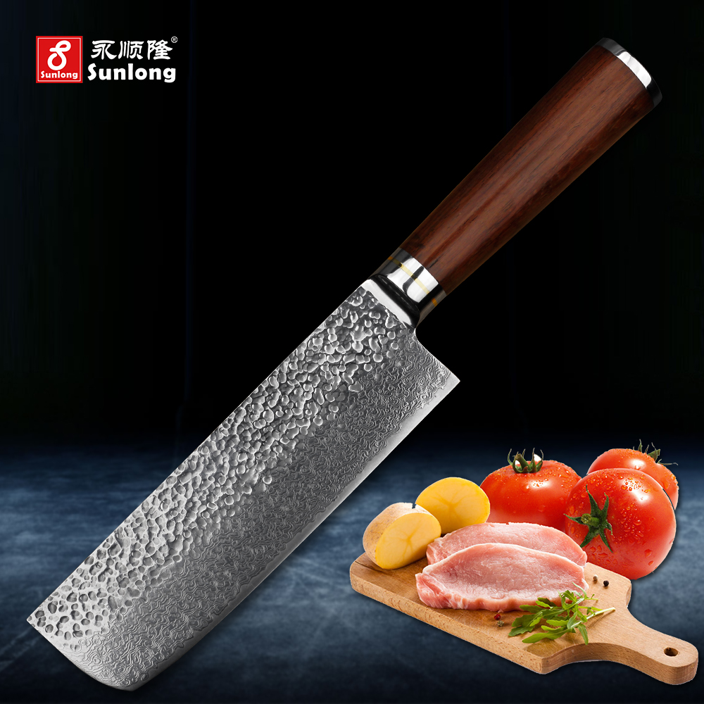 Sunlong 67layers Damascus steel kitchen knife pattern steel slice knife Cleaver Melaleuca steel chef knife vegetable