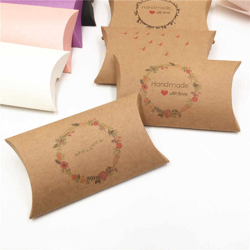 1 cái Giấy Kraft 12.5*7.5*2cm Gối Hình Hộp Quà Tặng Handmade Với Tình Yêu Hoa Lãng Mạn Kẹo hộp Đựng Trang Sức/Đồ Chơi