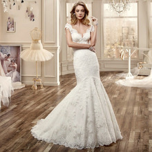 Custom Made Vestido De Novia Ivory/White Satin Applique Beading Short Sleeve Lace Mermaid Wedding Dress Bridal Gown
