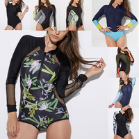 2018 Print Floral One Piece Swimsuit Long Sleeve Swimwear Women Bathing Suit Retro Swimsuit Vintage One-piece Surfing   Swim   Suits