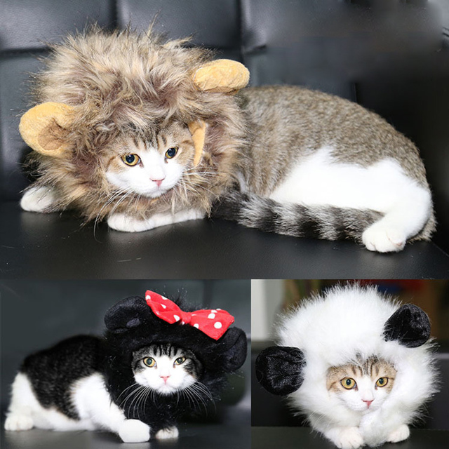 2016 Hot Cat  Lion Panda Mickey Mane Wig Cat Costume Hat Hair Cat Pet Puppy Cosplay Wig Holiday Clothes Fancy Dress with Ears