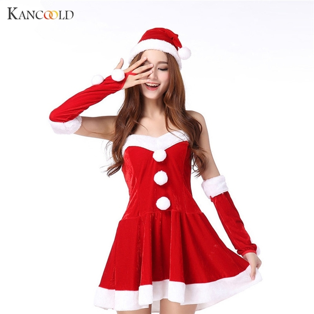 Christmas Dress 2017 Womens Sexy Santa Costume Christmas Party Fancy Dress  Cosplay Suit Strapless Off Shoulder Vestidos Au023 b79af4f2922a