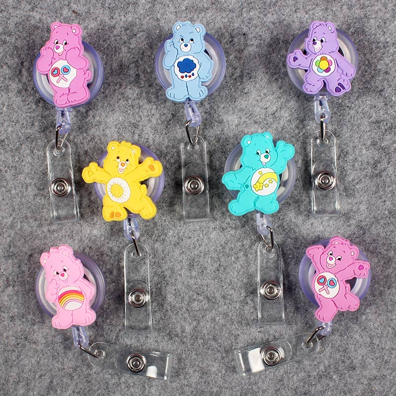 Cute Colors Bear Clown Retractable Crocodile Little Bear Badge Card Holder Reel Nurse Girls Exhibition Enfermera Name Card Chest