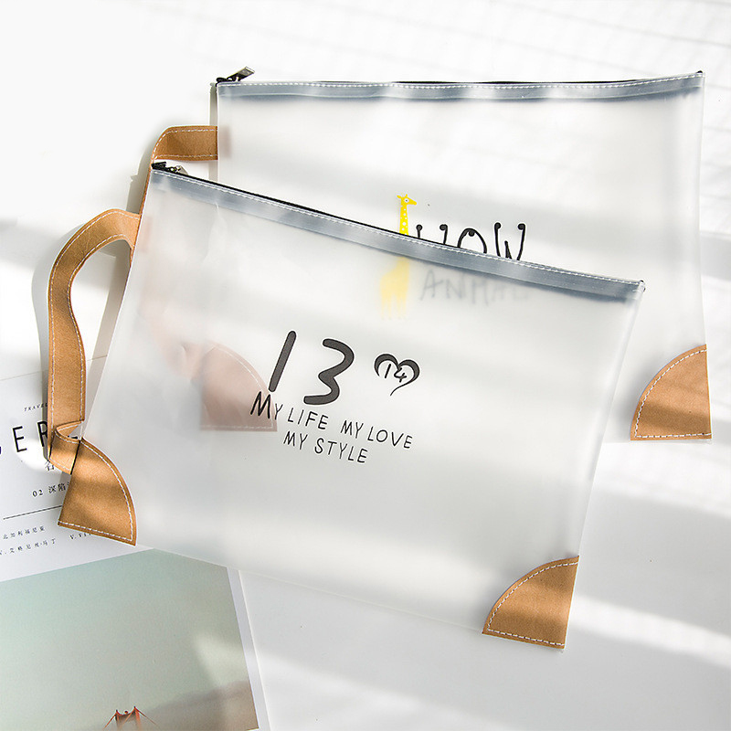 Kawaii Transparent File Bag Document Bag Waterproof File Presentation Folder Organizer School Office Stationery Papeleria Sl1120