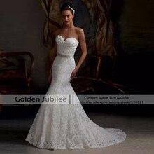 2016 Hot Sale Elegant Querida Branco Marfim Casamento Do Laço Da Sereia vestidos 2017 Voltar Lace Up Real Photo Barato vestido de noiva(China (Mainland))
