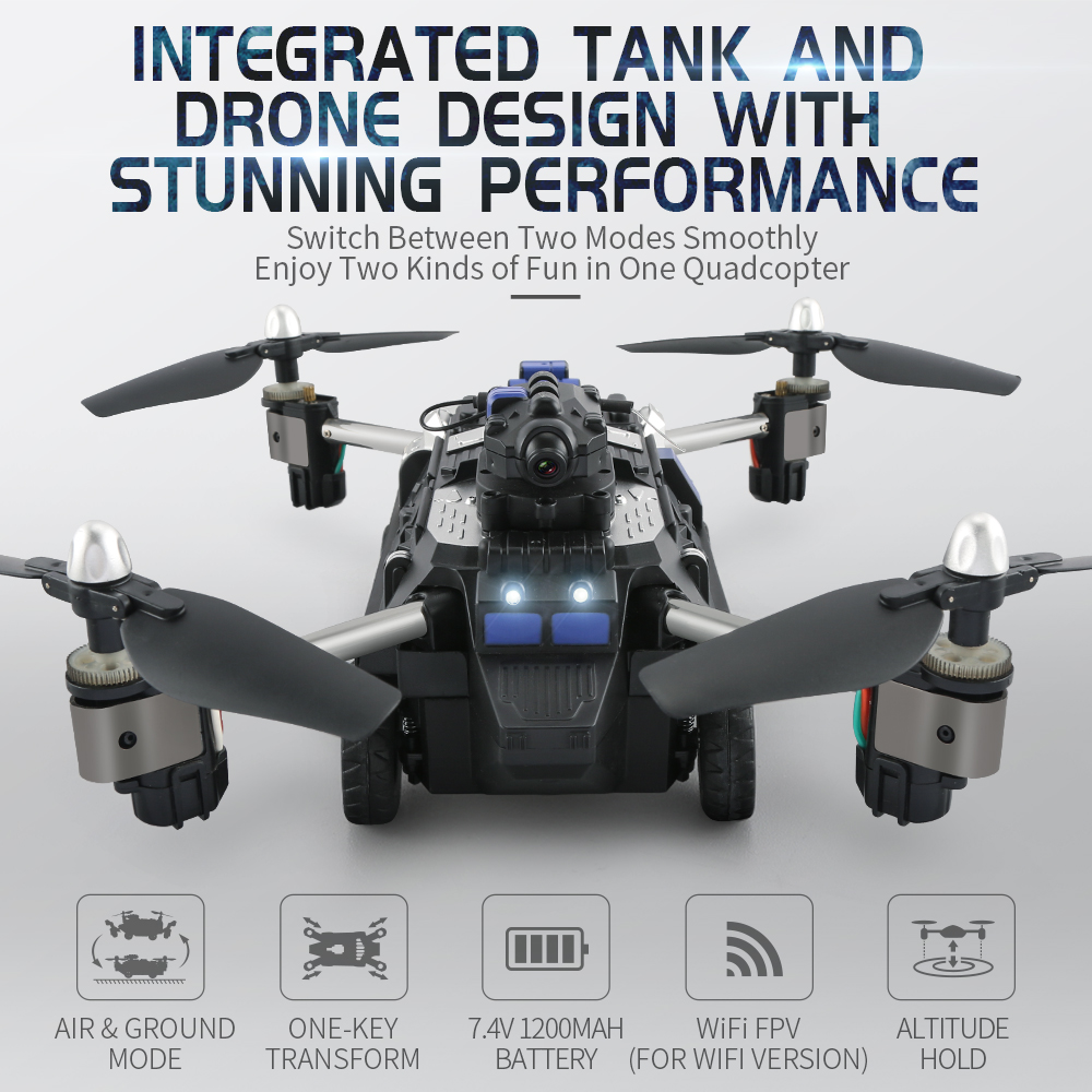 Wifi FPV APP Contrôle Pliable RC Réservoir Drone de L'avion Hybride Robot Jouets pour Enfant avec HD Caméra De Voiture Air Sol mode Quadricoptères