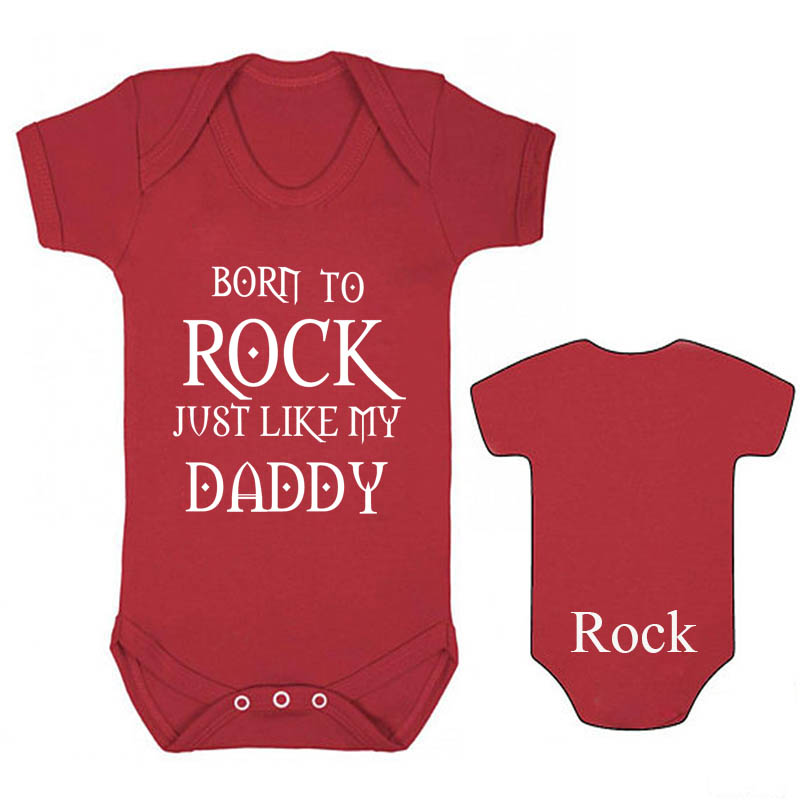Culbutomind  2018 New Design Two Side Romper Short Sleeve Born to Rock Just Like My Daddy Bodysuit for Newborn Infant bodysuit Culbutomind  2018 New Design Two Side Romper Short Sleeve Born to Rock Just Like My Daddy Bodysuit for Newborn Infant bodysuit