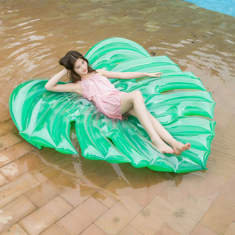 180cm 70 Inch Swimming Pool Air Mattress Inflatable Pool Float For Adult Palm Leaf Swimming Rings