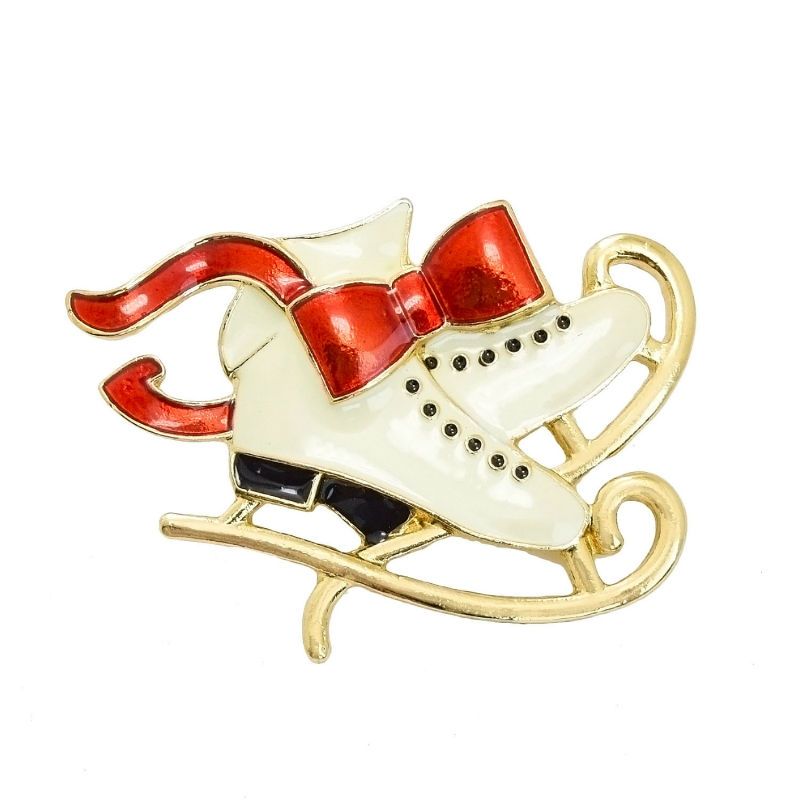 2016 Christmas Design Red Enamel Bowknot Gold-color Large Christmas Boots Brooches For Women Kids Statement Fashion Jewelry