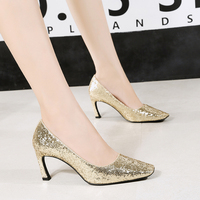 Woman Glitter Bling Wedding Pumps High Heels Slides Square Toe Shoes Shallow Slip on Sandalias Mujer Gold Rose Silver Bronze